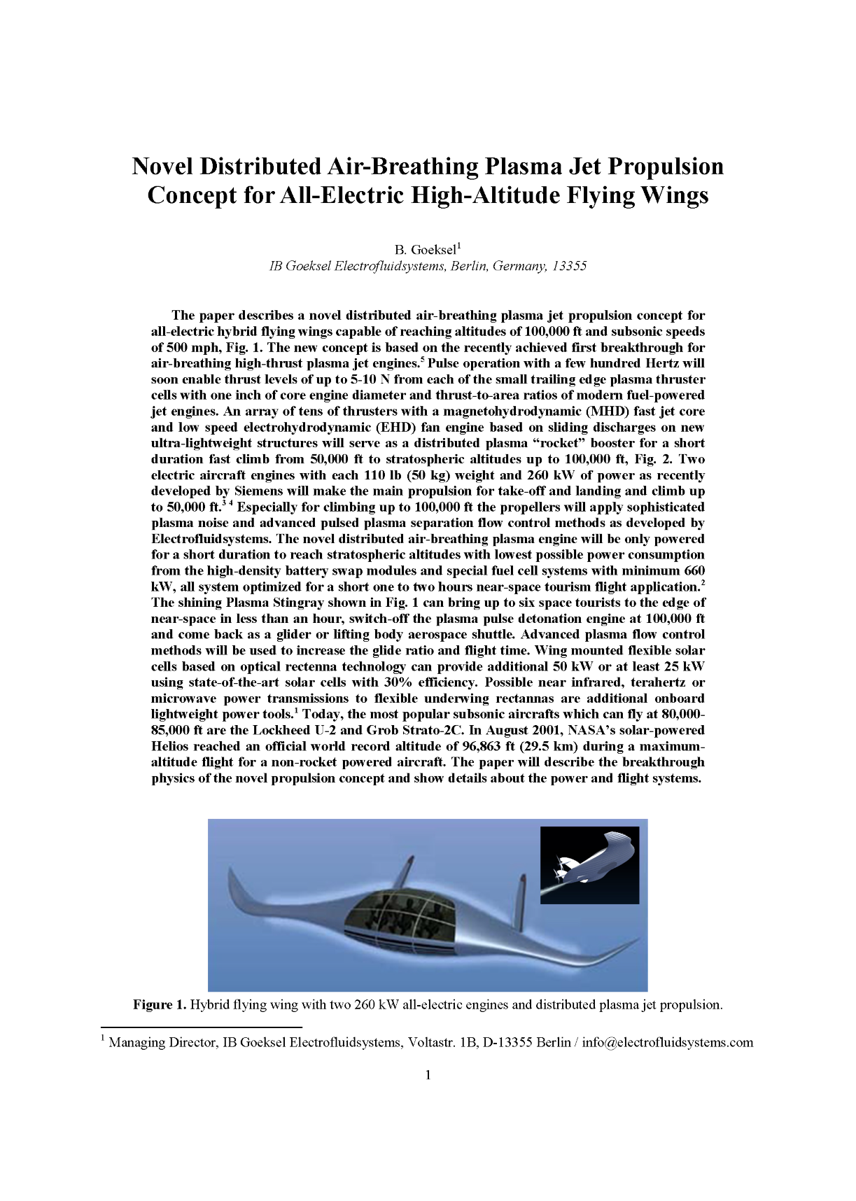 B. Göksel (2018) Novel Distributed Air-Breathing Plasma Jet Propulsion Concept for All-Electric High-Altitude Flying Wings.